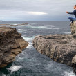 Meditation on the edge of a cliff — Stock Photo