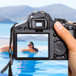 Vacations at swimming pool — Stock Photo