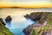 Sunset over Dunquin bay on Dingle Peninsula — Stock Photo