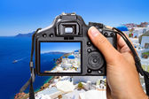 Vacations in Greece with the camera — Stock Photo