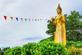 Statue of standing golden Buddha — Stock Photo