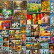 Outdoor gallery on the city walls of Krakow — Stock Photo