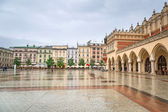 Old town of Cracow with Sukiennice landmark — Stock Photo