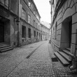 Black and white streets of the old town in Lublin — Stock Photo