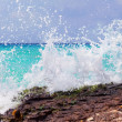 Caribbean sea with splashing waves — Stock Photo