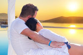 Couple watching together sunrise — Stock Photo