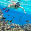 Stock Photo: Beautiful womsnorkeling in Red Sea
