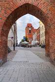 Porta de entrada para a antiga cidade de torun — Fotografia Stock