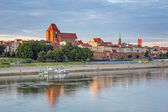 Torun old town reflected in Vistula river — Stock Photo