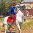 Arabic boy on the white horse — Stock Photo #31761407