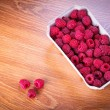Ripe raspberries in the basket — Stock Photo