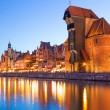 Old town of Gdansk at night in Poland — Stock Photo