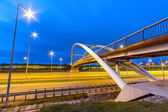Architecture of highway viaduct at night — Foto Stock