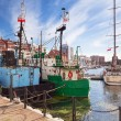 Harbor at Motlawa river in old town of Gdansk — Stock Photo