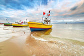 Fishing boats on the beach of Baltic Sea — Stock Photo