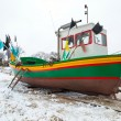 Stock Photo: Winter scenery of fishing boats at Baltic Sea