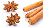 Anise stars and cinnamon sticks — Stock Photo
