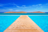 Quay on the turquise water of Mirabello bay — Stock Photo