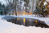 Winter alley in snowy park of Gdansk — Stock Photo