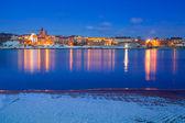 Paisaje de invierno de grudziadz en el río vístula — Foto de Stock