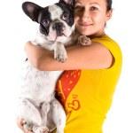 Beautiful woman with french bulldog — Stock Photo #37390679
