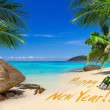 Happy New Year sign on the tropical beach — Stock Photo