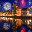 New Years firework display in Gdansk — Stock Photo
