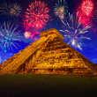New Years firework display in Chichen Itza — Stock Photo