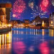 Stock Photo: New Years firework display in Gdansk