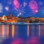 New Years firework display in Grudziadz — Stock Photo #38260683