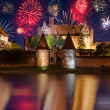 New Years firework display in Malbork — Stock Photo