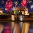 Stock Photo: New Years firework display in Malbork