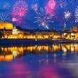 New Years firework display in Torun — Stock Photo