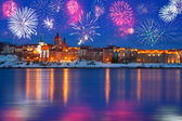 New Years firework display in Grudziadz — Stock Photo