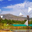 White windmills of Lasithi Plateau on Crete — Stock Photo