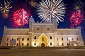 Firework display over the castle in Lublin — Stock Photo