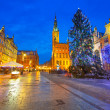 Old town of Gdanks with Christmas tree — Stock Photo