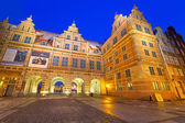 The Green Gate at night in Gdansk — Stockfoto