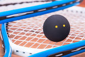Squash rackets and ball — Stock Photo