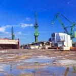 Cranes of shipyard in Gdansk — Stock Photo #41485359