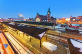 Main railway station in the city center of Gdansk — Stock Photo