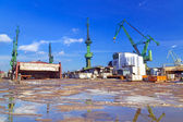 Cranes of shipyard in Gdansk — Stock Photo
