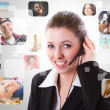 Cheerful helpline operator — Stockfoto
