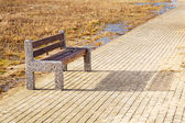 Bench at Baltic sea pathway in Gdansk — Stock Photo
