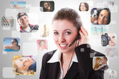 Cheerful helpline operator — Stock Photo