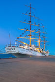Sailing frigate in harbor of Gdynia, Poland — Stock Photo
