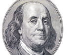 Benjamin Franklin on hundred dollars banknote — Stock Photo