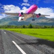 Aircraft starting from the mountain airport — Stock Photo