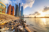 Architecture of Abu Dhabi at sunrise, UAE — Stock Photo