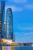 Etihad Towers buildings in Abu Dhabi at night — Stock Photo